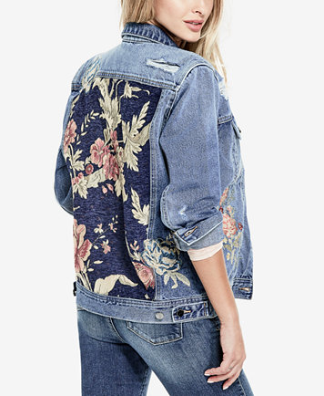 Image 3 of GUESS Cotton Floral-Embroidered Denim Jacket