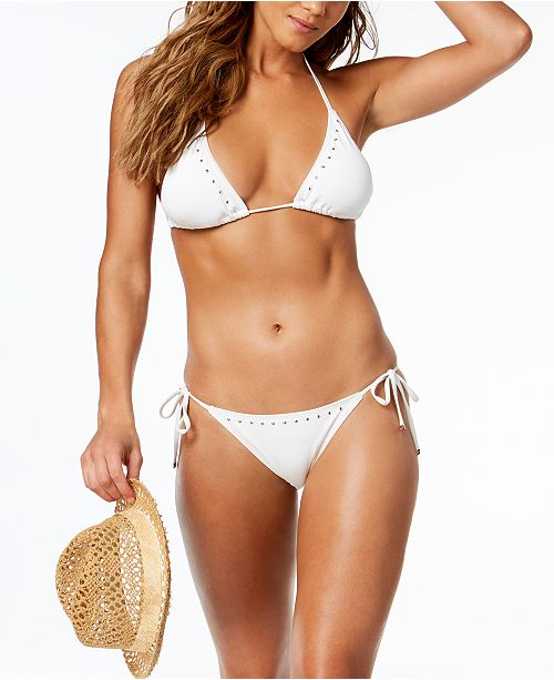 34ba843f30367 ... Michael Kors Studded Triangle Bikini Top & Side-Tie Bikini Bottoms ...