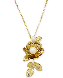 "kate spade new york Gold-Tone Imitation Pearl Rose Pendant Necklace, 14"" + 3"" extender"