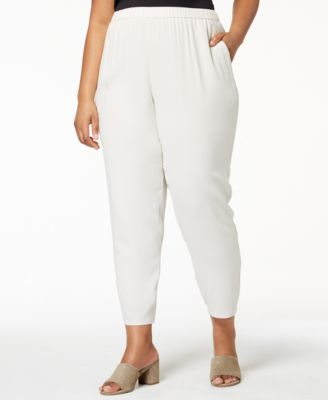 Plus Size SYSTEM Silk Pull-On Pants