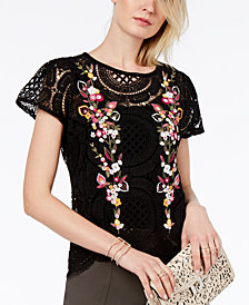 I.N.C. Petite Embroidered Crochet Top, Created for Macy's