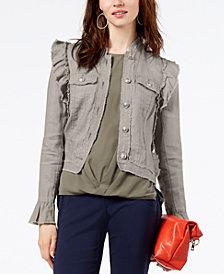 I.N.C. Ruffled Linen Jacket, Created for Macy's