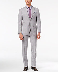 CLOSEOUT! Tallia Orange Men's Modern-Fit Light Gray Windowpane Suit