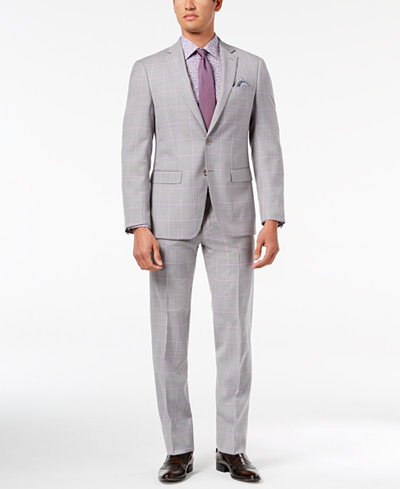 Tallia Orange Men's Modern-Fit Light Gray Windowpane Suit