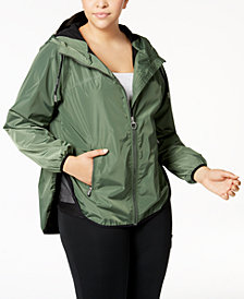 Calvin Klein Performance Spectator Crossover-Back Hooded Rain Jacket