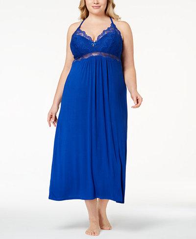 Thalia Sodi Plus Size Lacy Racerback Nightgown, Created for Macy's
