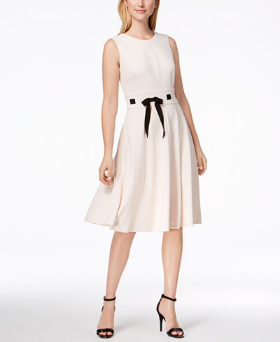 Calvin Klein Fit & Flare Ribbon Dress