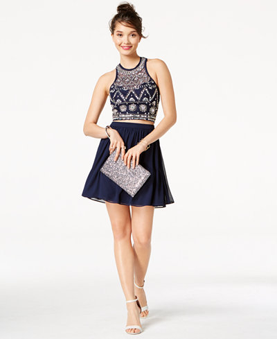 B Darlin Juniors' Embellished Strappy-Back 2-Pc. Dress, Created for Macy's