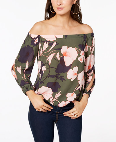 Bar III Floral-Print Off-The-Shoulder Top, Created for Macy's