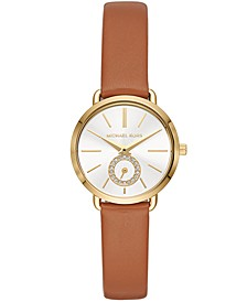 Women's Petite Portia Luggage Leather Strap Watch 28mm