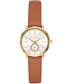 Michael Kors Women's Petite Portia Luggage Leather Strap Watch 28mm