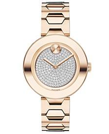 Women's Swiss BOLD Museum Classic Light Carnation Pink Stainless Steel Bracelet Watch 32mm