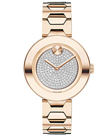 Movado Women's Swiss BOLD Museum Classic Light Carnation Pink Stainless Steel Bracelet Watch 32mm