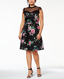 Monteau Trendy Plus Size Mesh-Yoke A-Line Dress