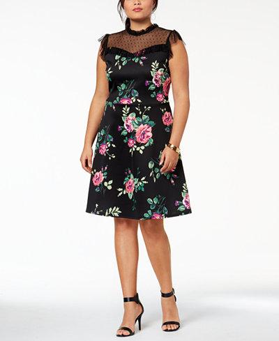 Monteau Trendy Plus Size Mesh-Yoke A-Line Dress - Dresses - Plus ...