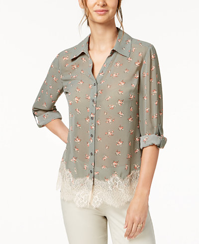 Style & Co Petite Lace-Hem Floral-Print Blouse, Created for Macy's