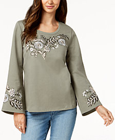 Style & Co Cotton Embroidered Sweatshirt, Created for Macy's