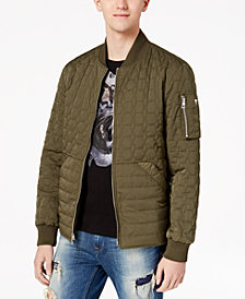 GUESS Men's Joel Quilted Full-Zip Bomber Jacket