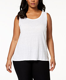 Eileen Fisher Plus Size SYSTEM Organic Linen Tank Top