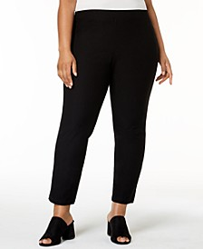 Plus Size SYSTEM Washable Crepe Slim-Leg Ankle Pants