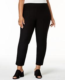 SYSTEM Plus Size Washable Crepe Slim-Leg Ankle Pants