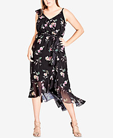 City Chic Trendy Plus Size Printed One-Shoulder Dress