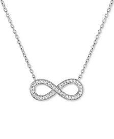"Arabella Swarovski Zirconia Infinity 18"" Pendant Necklace in Sterling Silver"