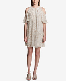 Calvin Klein Pleated Cold-Shoulder Shift Dress