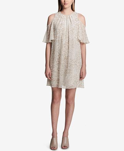 Calvin Klein Pleated Cold-Shoulder Shift Dress