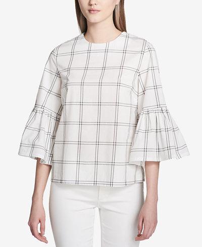 Calvin Klein Cotton Plaid Bell-Sleeve Top
