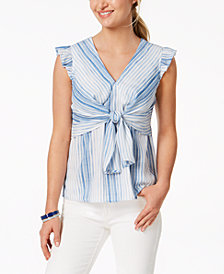 Monteau Petite Striped Tie-Front Top, Created for Macy's