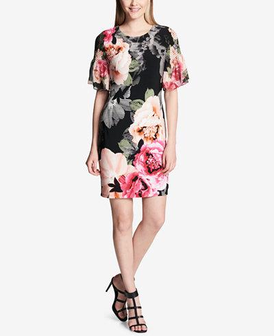 Calvin Klein Floral-Print A-Line Dress