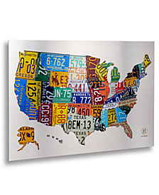 "Design Turnpike 'License Plate USA 2' 16"" x 22"" Floating Brushed Aluminum Art Print"