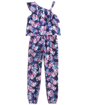Epic Threads Floral-Print One-Shoulder Jumpsuit, Big Girls, Created for Macy's