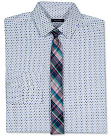 Tommy Hilfiger Dot-Print Stretch Shirt & Necktie, Big Boys