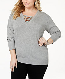 MICHAEL Michael Kors Plus Size Lace-Up Sweater