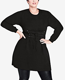 City Chic Trendy Plus Size Corset Sweater