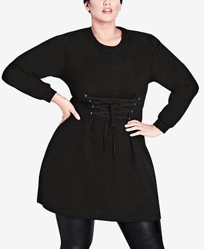 City Chic Trendy Plus Size Corset Sweater