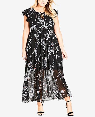 City Chic Trendy Plus Size Flutter-Sleeve Maxi Dress