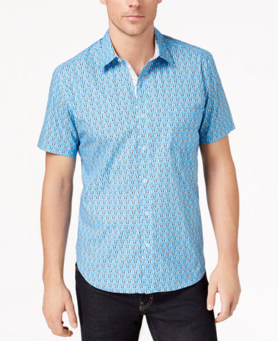 Con.Struct Men's Stretch Penguin-Print Shirt, Created for Macy's