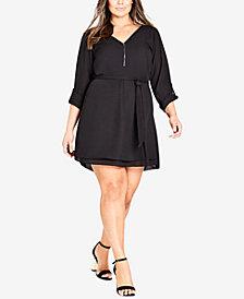 City Chic Trendy Plus Size Zip-Front Tunic Dress