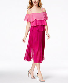 Julia Jordan Tiered Pleated Midi Dress