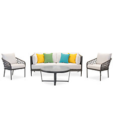CLOSEOUT! Key Largo Aluminum Outdoor 4-Pc. Seating Set (1 Sofa, 2 Accent Chairs, & 1 Coffee Table) with Sunbrella® Cushions, Created for Macy's