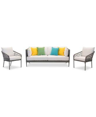 Key Largo Aluminum Outdoor 3 Pc. Seating Set (1 Sofa, U0026 2 Accent Chairs)  With Sunbrella® Cushions, Created For Macyu0027s