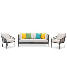 CLOSEOUT! Key Largo Aluminum Outdoor 3-Pc. Seating Set (1 Sofa, & 2 Accent Chairs) with Sunbrella® Cushions, Created for Macy's