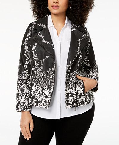 Alfani Plus Size Printed Faux-Leather Moto Jacket, Created for Macy's