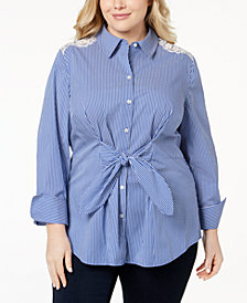 I.N.C. Plus Size Lace Tie-Front Shirt, Created for Macy's