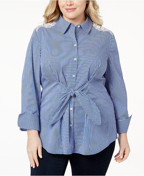 c0d3b127317faa INC International Concepts I.N.C. Plus Size Lace Tie-Front Shirt ...