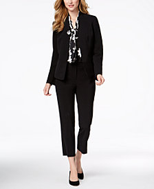 Nine West Kiss-Front Blazer, Tie-Neck Blouse & Skinny Pants