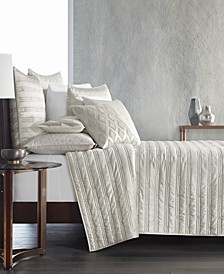 CLOSEOUT! Gilded Geo Embroidered Quilted Coverlet & Sham Collection, Created for Macy's
